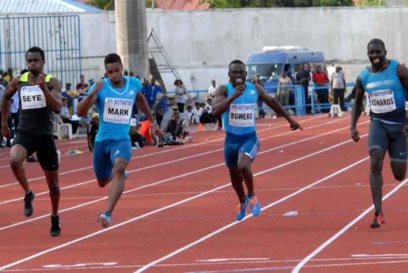 Ogho-Oghene Egwero during the men's 100m race at the Nigerian Championships - Calabar 2014
