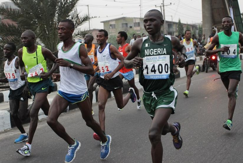 NIGERIA RUNNERS AT A ROAD RACE