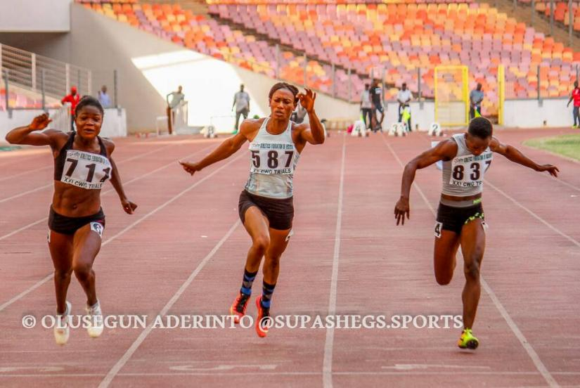 Rosemary Chukwuma, Grace Ayemoba and Blessing Ogundiran in a close finish in the women's 100m final / Photo credit: SUPASHEGS.SPORTS
